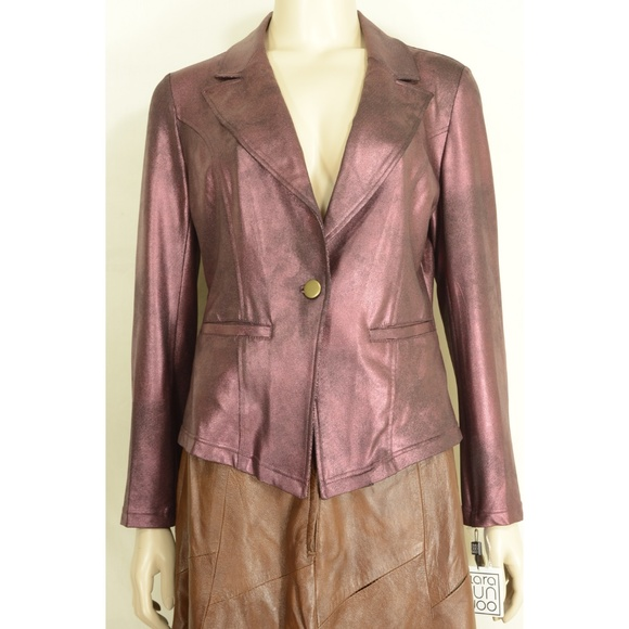Clara Sun Woo Jackets & Blazers - Clara Sun Woo jacket S Wine Signature Liquid Leath